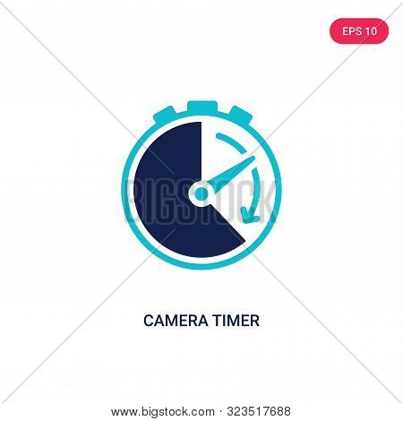 camera timer icon in two color design style.