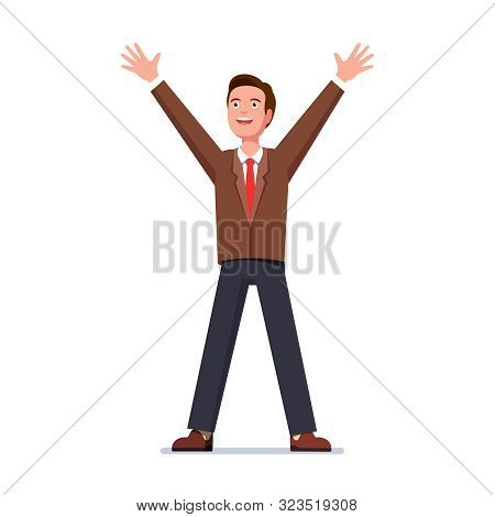 Glad Business Man Standing With Raised Up Hands