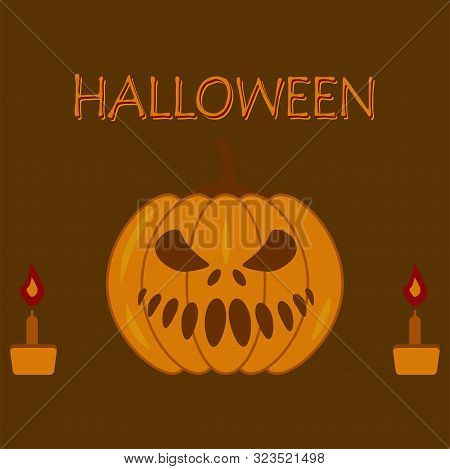 Autumn Pumpkin With Different Facial Expressions, Burning Candles And Inscription Halloween. Holiday