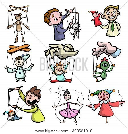 Set Of Puppets, Marionettes And Puppet Masters. Raster Illustration In Flat Cartoon Style
