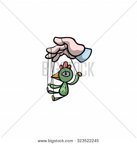Puppeteer Hand Holding Puppet Of A Bird. Raster Illustration In Flat Cartoon Style