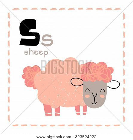 Cartoon Alphabet Letter S For Sheep For Teaching Kids To Read And Write With Upper And Lower Case Te