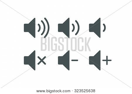 Vector Illustration Isolated On White Background. Sound Music Icons Set. Audio Icons. Sound Buttons.