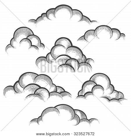 Clouds Engraving Illustration. Nature Line Art Sketched Decorative Cloud Set Vector Illustration, Cl