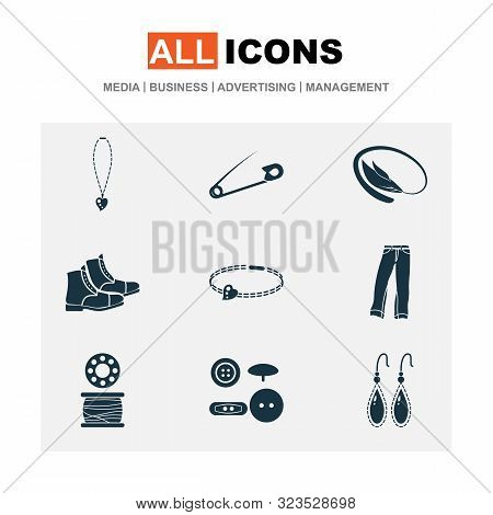 Style Icons Set With Buttons, Earring, Bangle And Other Boots Elements. Isolated Illustration Style