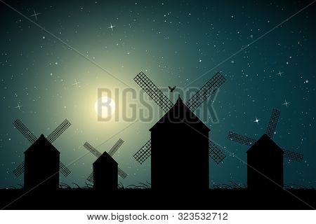 Windmills In Field On Moonlit Night. Vector Illustration With Silhouettes Of Mills. Summer Rural Lan