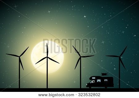 Cartoon Retro Car Between Windmills On Road On Moonlit Night. Vector Illustration With Silhouette Of