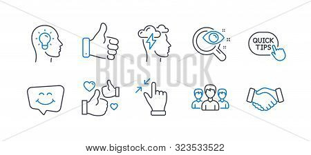 Set Of People Icons, Such As Smile Chat, Like Hand, Idea Head, Quick Tips, Touchscreen Gesture, Grou
