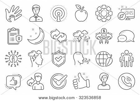 Check Mark, Sharing Economy And Mindfulness Stress, Breath People Line Icons. Privacy Policy, Social