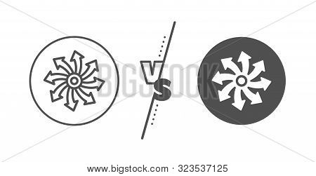 Multifunction Sign. Versus Concept. Versatile Line Icon. Line Vs Classic Versatile Icon. Vector