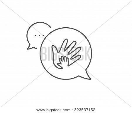 Hand Line Icon. Chat Bubble Design. Social Responsibility Sign. Honesty, Collaboration Symbol. Outli