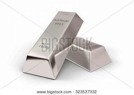 Two Shiny Platinum Ingots Or Bars Over White Background - Precious Metal Or Money Investment Concept