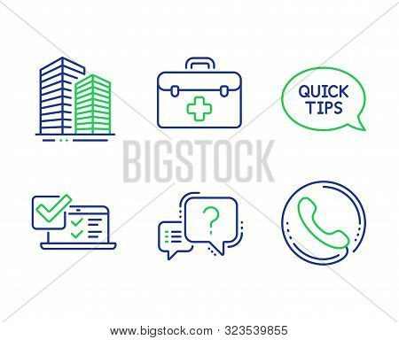 Online Survey, First Aid And Quickstart Guide Line Icons Set. Question Mark, Skyscraper Buildings An