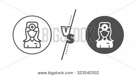 Health Eye Sign. Versus Concept. Oculist Doctor Line Icon. Optometry Clinic Symbol. Line Vs Classic