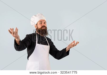 Chef Ready To Cooking New Dish. Chief Cook And Professional Culinary. Male Cook In Chef Hat. Chef, C