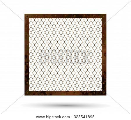 Rusty Metal Frame With A Grid In The Middle. Brutal Rusty Frame For Your Projects With Complex Textu
