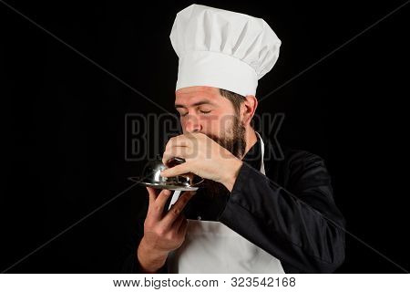 Waiter. Chef Man In Uniform With Cloche Food. Cook Hold Metal Tray With Lid. Servant Carry Metallic