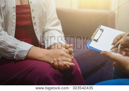 Psychotherapist Works And Counsels Young Woman, Closeup On Hands, Toned.