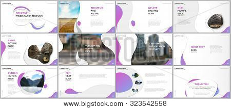 Minimal Presentations Design, Portfolio Vector Templates With Fluid Colorful Trendy Gradients Geomet