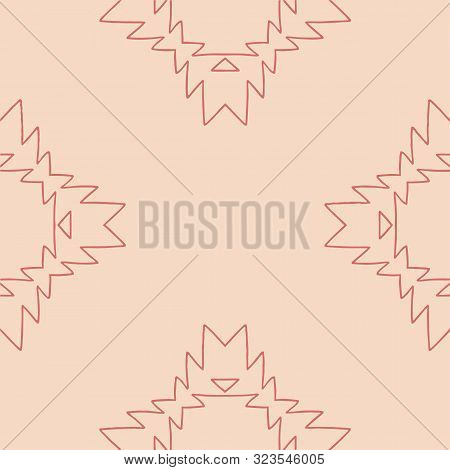 Pink And Terracota Tribal Abstract Seamless Pattern.