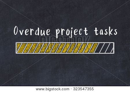 Chalk Drawing Of Loading Progress Bar With Inscription Overdue Project Tasks.