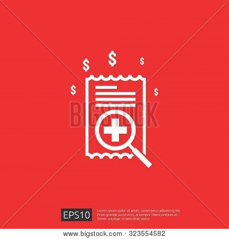 Expensive Health Medicine Cost Concept. Healthcare Spending Or Expenses. Flat Design Vector Illustra