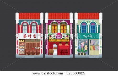 Colorful And Historical Colonial Style Double Storey Shophouse. Isolated. Caption: Traditional Herba