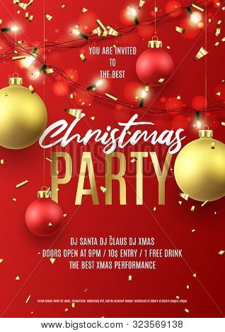 Merry Christmas Party Flyer. Holiday Poster With Realistic Christmas Red And Golden Balls, Golden Co