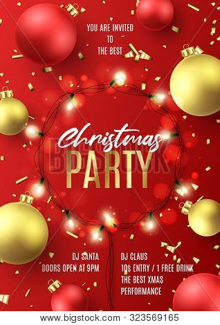 Promo Flyer For Christmas Party. Holiday Poster With Realistic Christmas Red And Golden Balls, Golde