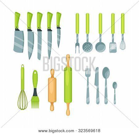 Set Of Kitchen Utensils, Cookware Cartoon Vector Illustration Isolated