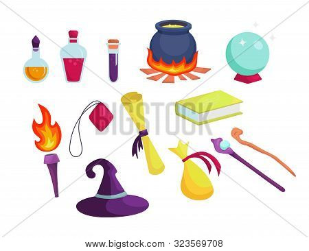 Magic Accessories, Wizard Tools. Flasks With Solutions, Cauldron With Potion.