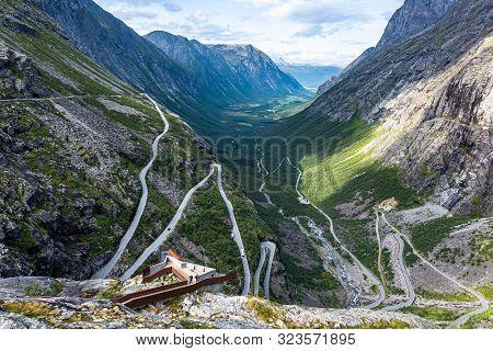 Trollstigen, Andalsnes, Norway. Stigfossen Waterfall Near Famous Mountain Road Trollstigen.