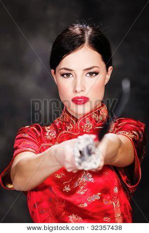 Pretty Female Katana Warrior