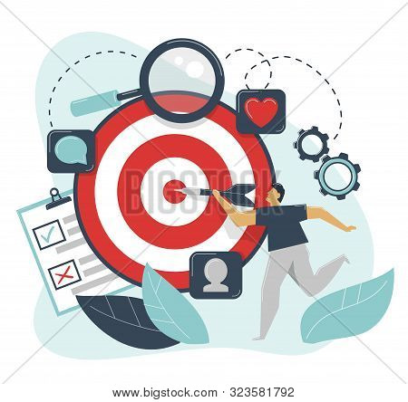 Behavioral Targeting Concept. Man Hit Target Dart. Audience On Customer Behavior: Likes, Comments, R