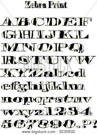 Vector Zebra Pattern Alphabet Print.Eps