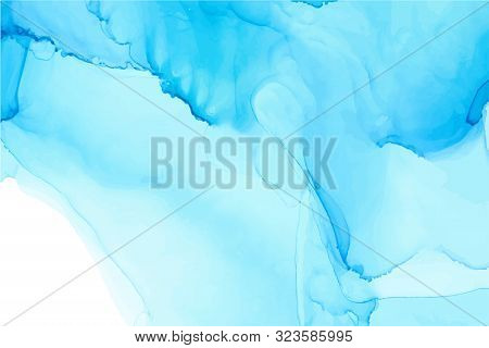 Light Blue Alcohol Ink Wash Vector Texture On White Paper Background. Hand Drawn Texture With Shades
