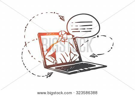 Helpline, Operator, Hotline Concept Sketch. Online Business Consulting, Internet Technical Support,
