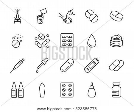 Drug, Pharmacy Medical Line Icons. Vector Illustration Included Icon As Effervescent Pills, Cough Sy