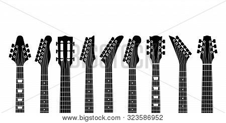 Guitar Headstocks. Acoustic And Rock Electric Guitars Heads. Outline Musical Instrument, Minimal Abs