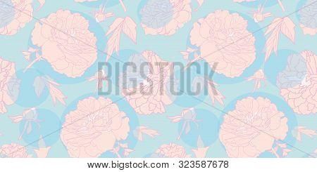 Elegant Realistic Festive Peony Botanical Pattern, Modern Peony Blossom In Pastel Tones With Circles