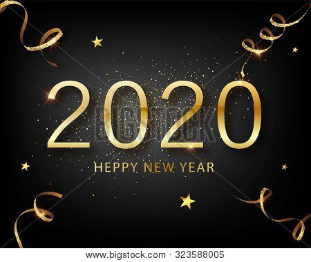 2020 Golden Vector Luxury Text Happy New Year. Happy New Year 2020 - New Year Shining Background Wit