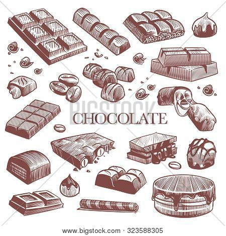 Sketch Chocolate. Engraving Black Chocolate Bars, Truffle Sweets And Coffee Beans. Vintage Hand Draw
