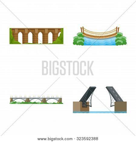 Isolated Object Of Bridgework And Bridge Logo. Collection Of Bridgework And Landmark Stock Vector Il
