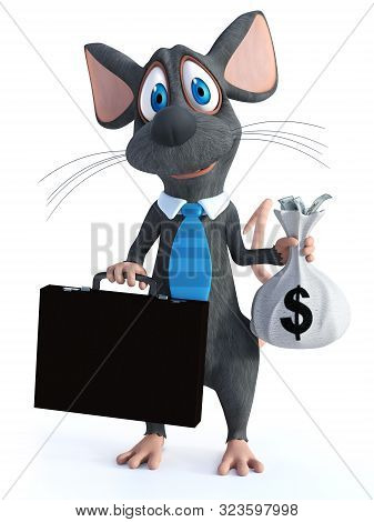 3d Rendering Of A Cute Smiling Cartoon Mouse Dressed As A Businessman Wearing A Tie And Holding A Br