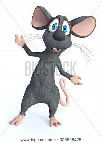 3d Rendering Of A Cute Smiling Cartoon Mouse Standing With His Arms Outstretched In A Welcoming Pose