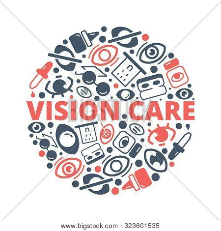 Optometry Background. Eye Lens Ophthalmology Equipments Vision Healthcare Laser Medical Vector Circl