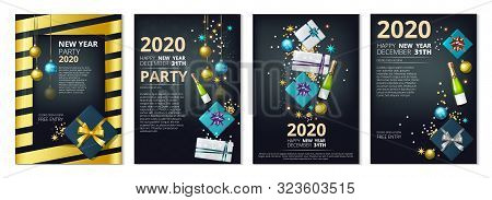 New Year Party Banners. 2020 Year Eve Invitation Templates. Vector Festive Cards With Gifts, Confett