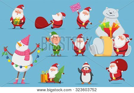 Santa Claus Set. Christmas Characters. Cute Santa, Polar Bear, Penguin Vector Illustration. Penguin