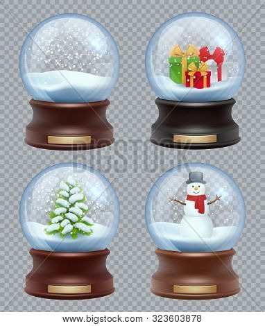 Glass Snow Ball. Crystallizing Magical Christmas Toy Snowglobe Vector Realistic Template. Ball Chris