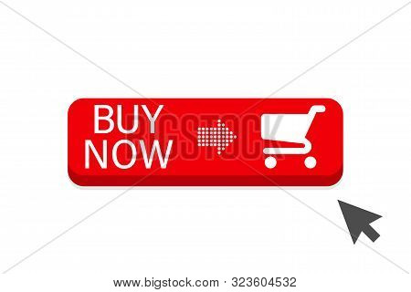 Buy Now Red Button With Cursor In Flat Design. Button Buy Now Vector Icon. Buy Now Button Onwhite Ba